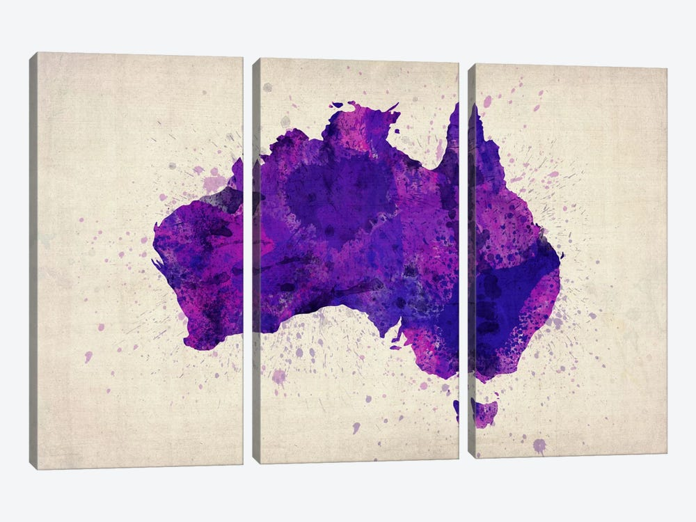 Map of Australia (Purple) Paint Splashes by Michael Tompsett 3-piece Canvas Art