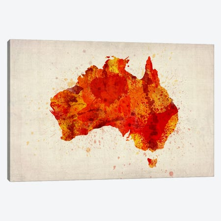 Map of Australia (Red) Paint Splashes Canvas Print #8902} by Michael Tompsett Canvas Art Print
