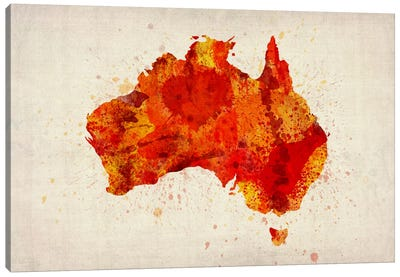 Map of Australia (Red) Paint Splashes Canvas Art Print