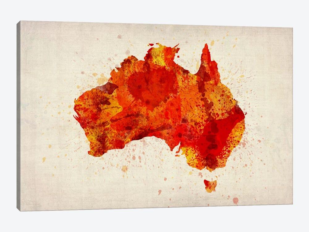 Map of Australia (Red) Paint Splashes by Michael Tompsett 1-piece Canvas Print