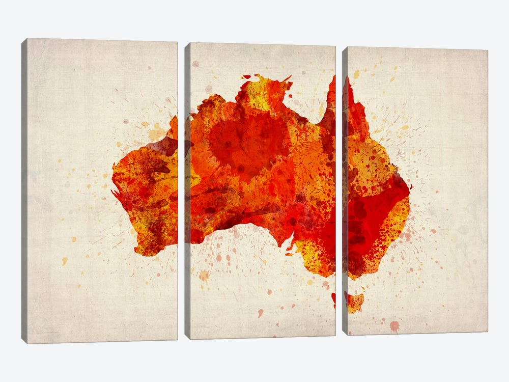 Map of Australia (Red) Paint Splashes by Michael Tompsett 3-piece Canvas Art Print