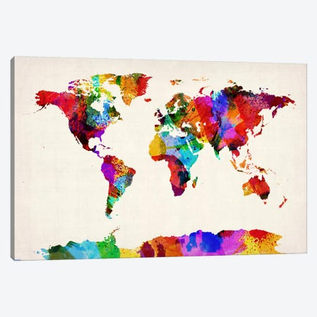 Map of The World (Abstract painting) II Canvas Print #8904} by Michael Tompsett Canvas Artwork