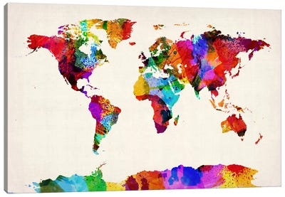 Map of The World (Abstract painting) II Canvas Art Print