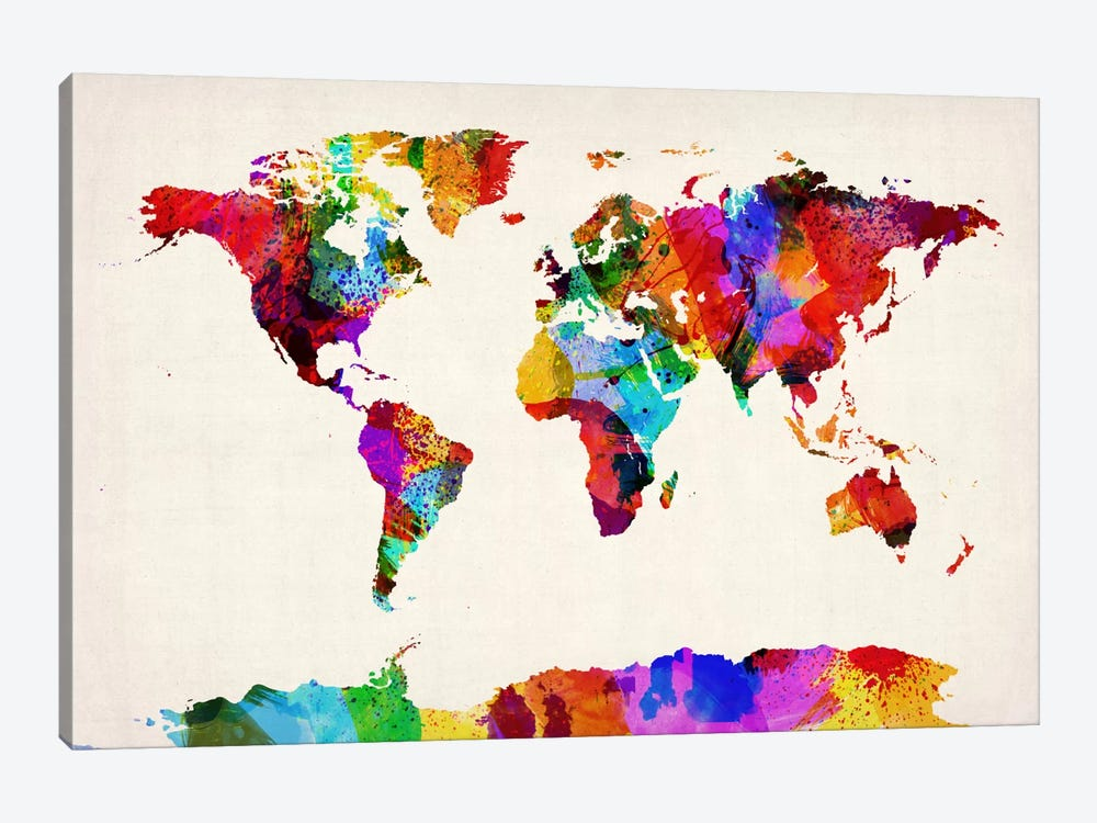 Map of The World (Abstract painting) II by Michael Tompsett 1-piece Art Print