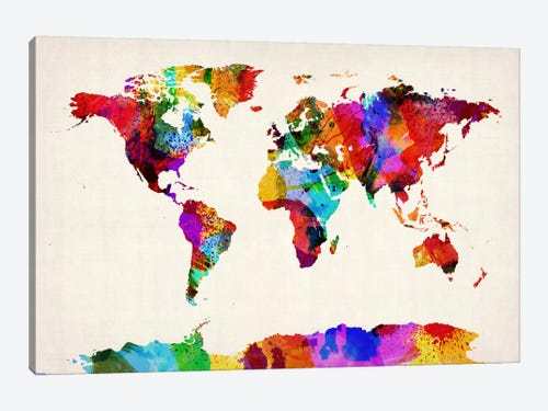 Map Of The World Abstract Painting Ii Can Michael Tompsett Icanvas