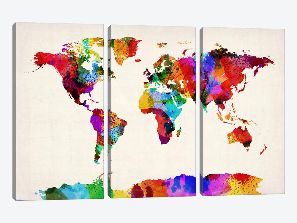 Map of The World (Abstract painting) II by Michael Tompsett 3-piece Canvas Print