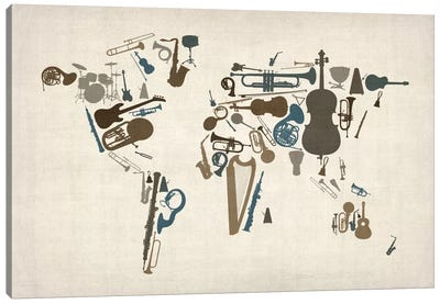 Musical Instruments Map of the World Canvas Art Print