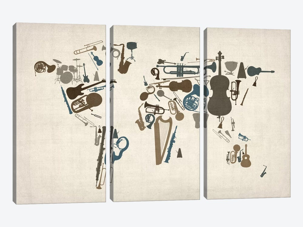 Musical Instruments Map of the World by Michael Tompsett 3-piece Canvas Art