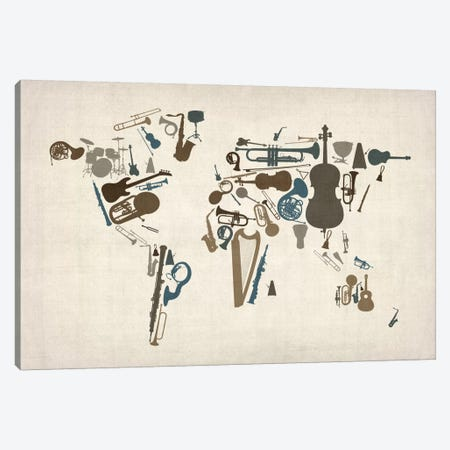Musical Instruments Map of the World Canvas Print #8905} by Michael Tompsett Canvas Wall Art