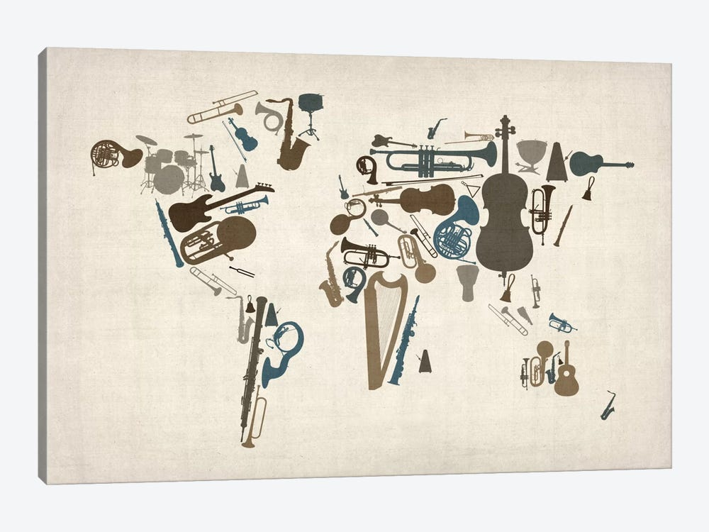 Musical Instruments Map of the World by Michael Tompsett 1-piece Canvas Art