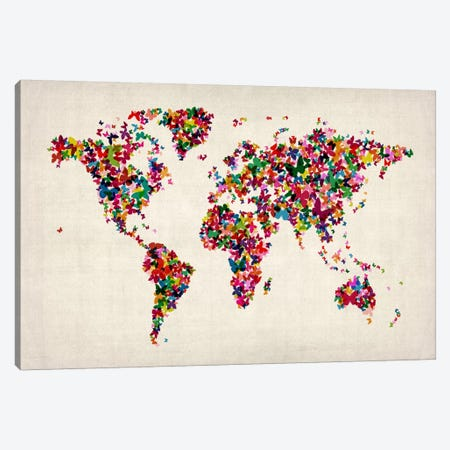Butterflies World Map II Canvas Print #8906} by Michael Tompsett Canvas Wall Art
