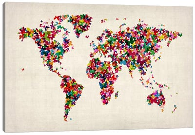 Butterflies World Map II Canvas Print #8906
