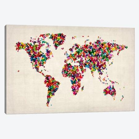 Butterflies World Map II Canvas Print #8906} by Michael Tompsett Canvas Wall Art
