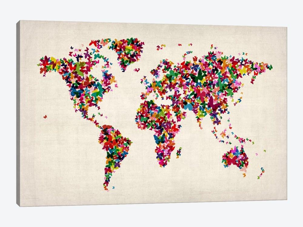 Butterflies World Map II by Michael Tompsett 1-piece Canvas Print