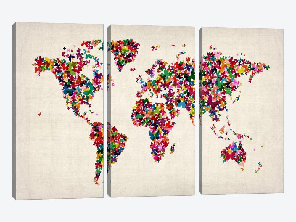 Butterflies World Map II by Michael Tompsett 3-piece Canvas Art Print