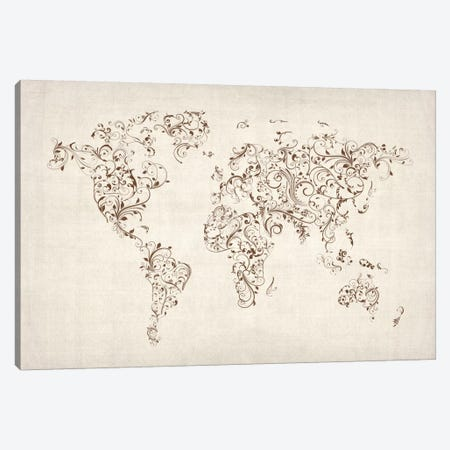 Map of the World Map Floral Swirls Canvas Print #8907} by Michael Tompsett Canvas Art