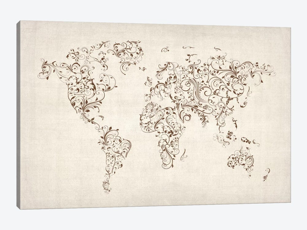 Map of the World Map Floral Swirls by Michael Tompsett 1-piece Canvas Wall Art