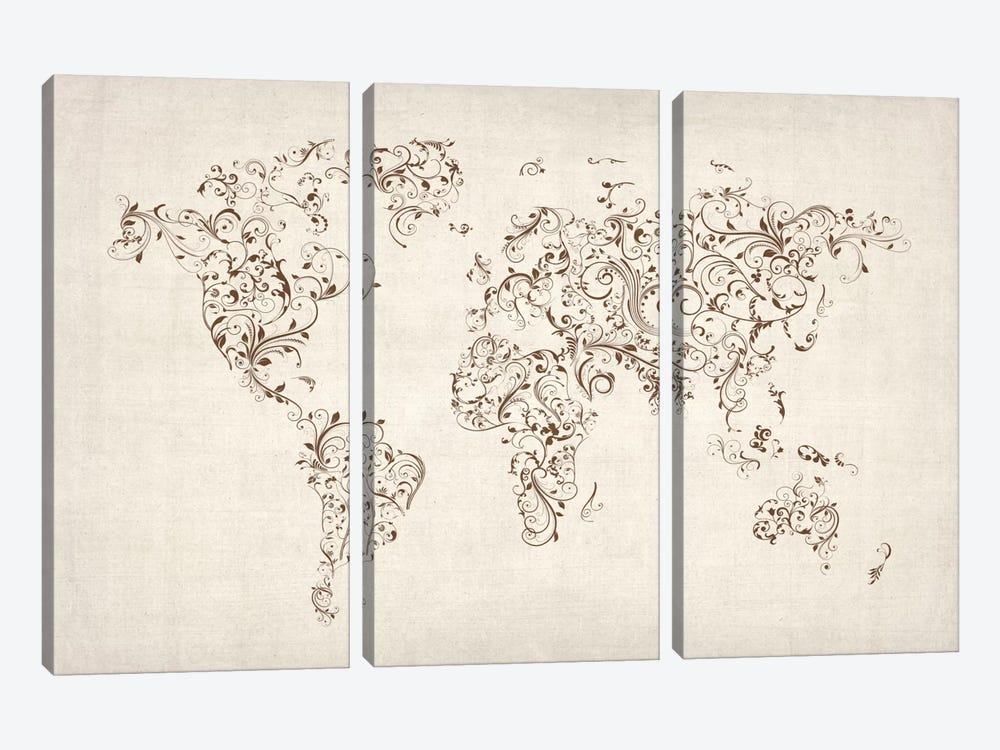 Map of the World Map Floral Swirls by Michael Tompsett 3-piece Canvas Art