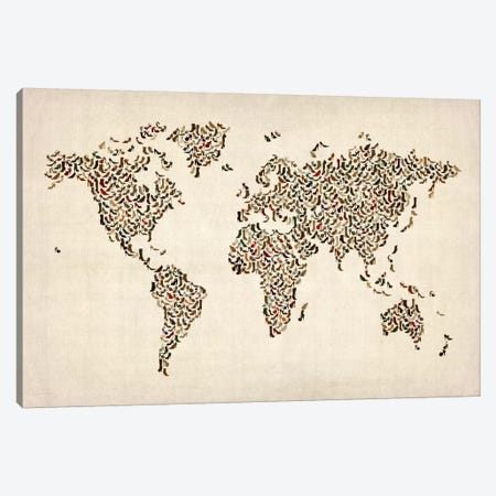 Women's Shoes (Boots) World Map Canvas Print #8908} by Michael Tompsett Art Print
