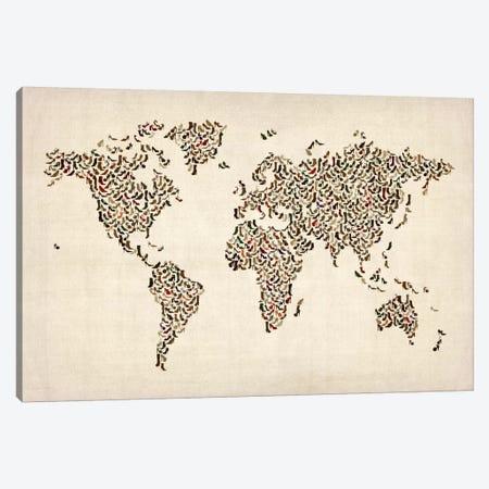 Women's Shoes (Boots) World Map Canvas Print #8908} by Michael Tompsett Art Print