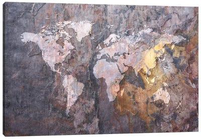 World Map on Stone Background Canvas Art Print
