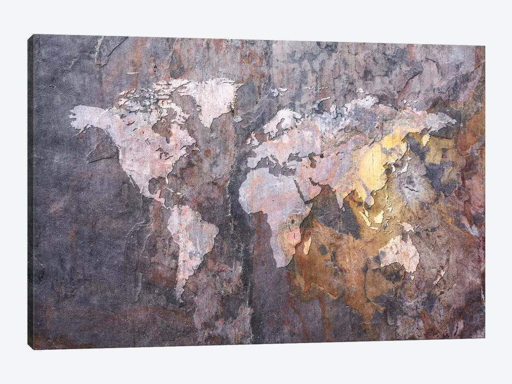 World Map on Stone Background by Michael Tompsett 1-piece Canvas Artwork