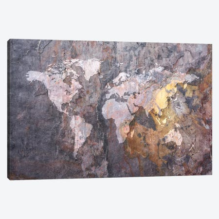 World Map on Stone Background Canvas Print #8909} by Michael Tompsett Canvas Art Print