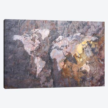 World Map on Stone Background Canvas Print #8909} by Michael Tompsett Canvas Art Print