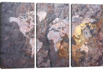World Map on Stone Background Canvas Art Print