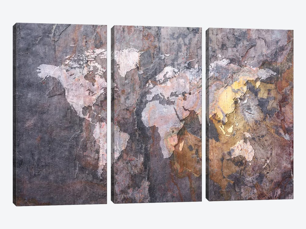 World Map on Stone Background by Michael Tompsett 3-piece Canvas Wall Art