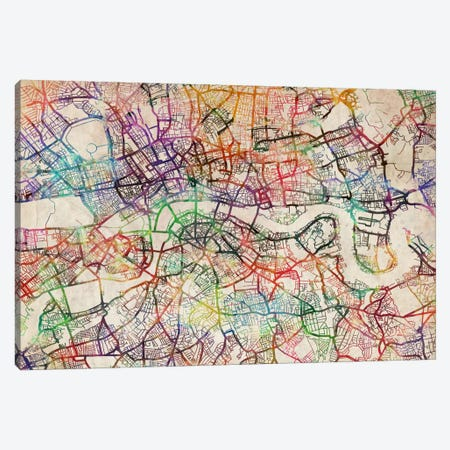London Map Watercolor Canvas Print #8910} by Michael Tompsett Canvas Wall Art