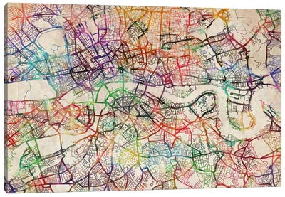 London Map Watercolor Canvas Art Print