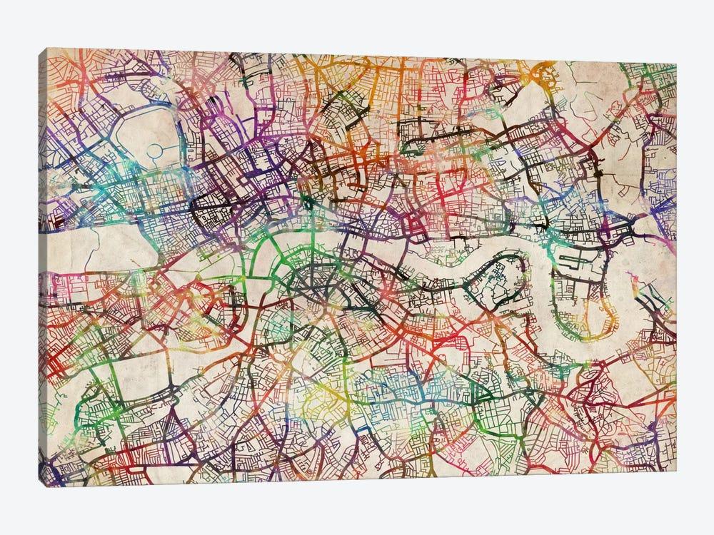 London Map Watercolor by Michael Tompsett 1-piece Canvas Art