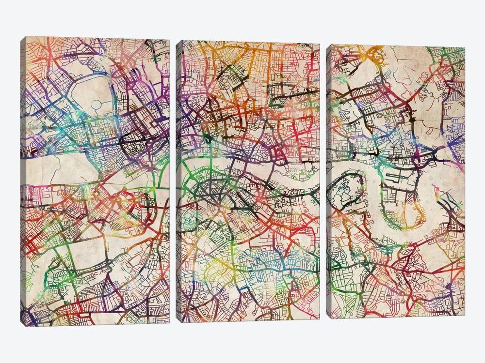 London Map Watercolor by Michael Tompsett 3-piece Canvas Art