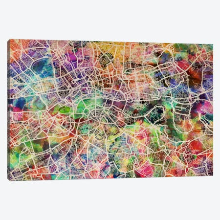 London Map Watercolor II Canvas Print #8911} by Michael Tompsett Canvas Artwork