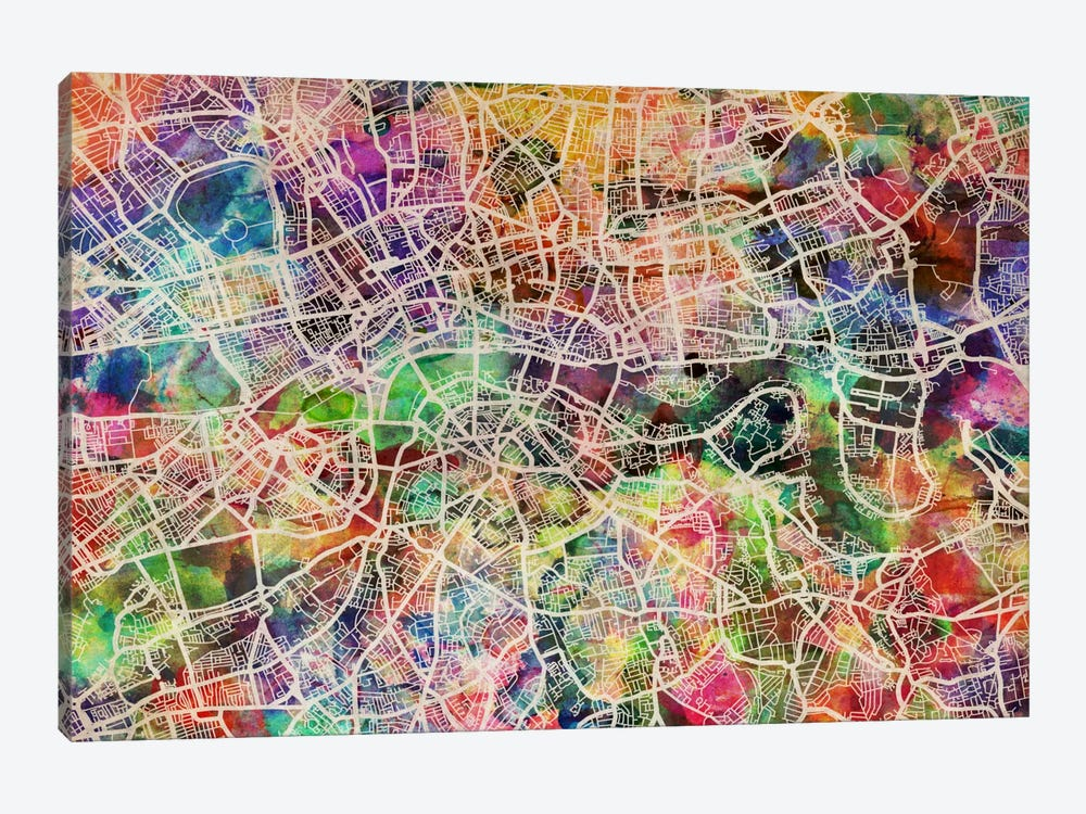London Map Watercolor II by Michael Tompsett 1-piece Art Print