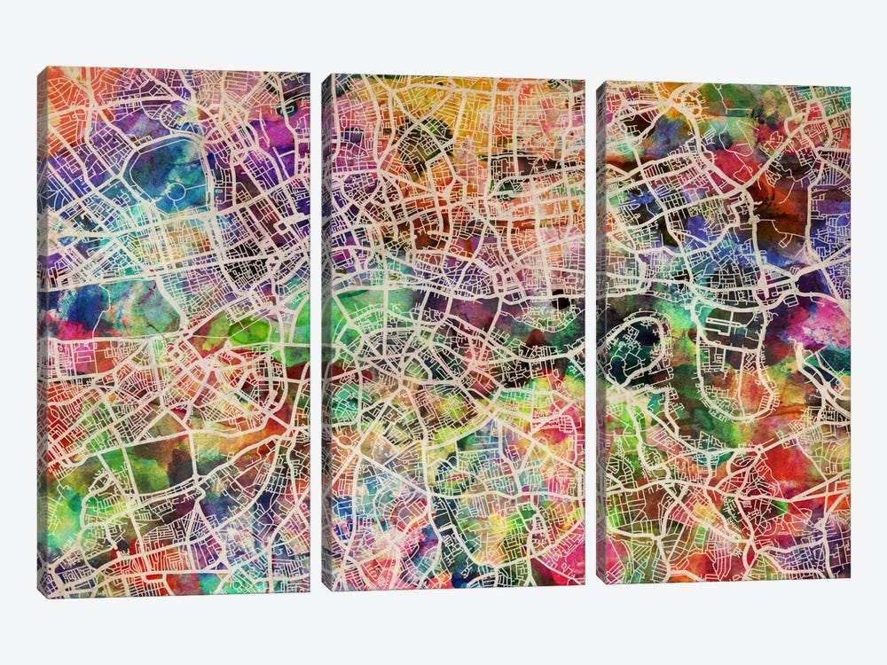 London Map Watercolor II by Michael Tompsett 3-piece Art Print