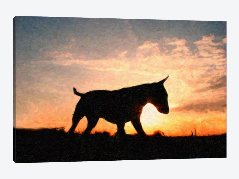 English Bull Terrier by Michael Tompsett 1-piece Canvas Artwork