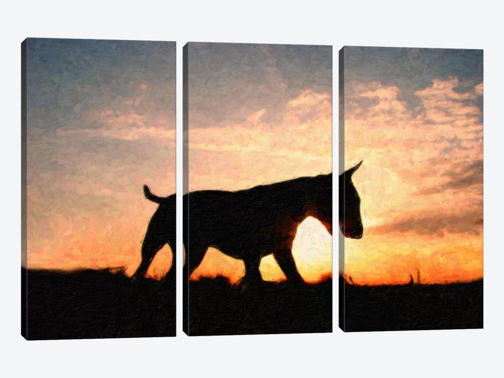 English Bull Terrier by Michael Tompsett 3-piece Canvas Artwork