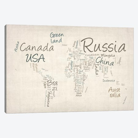 World Map in Words II Canvas Print #8913} by Michael Tompsett Canvas Art