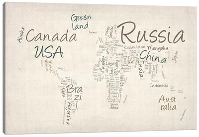 World Map in Words II Canvas Art Print
