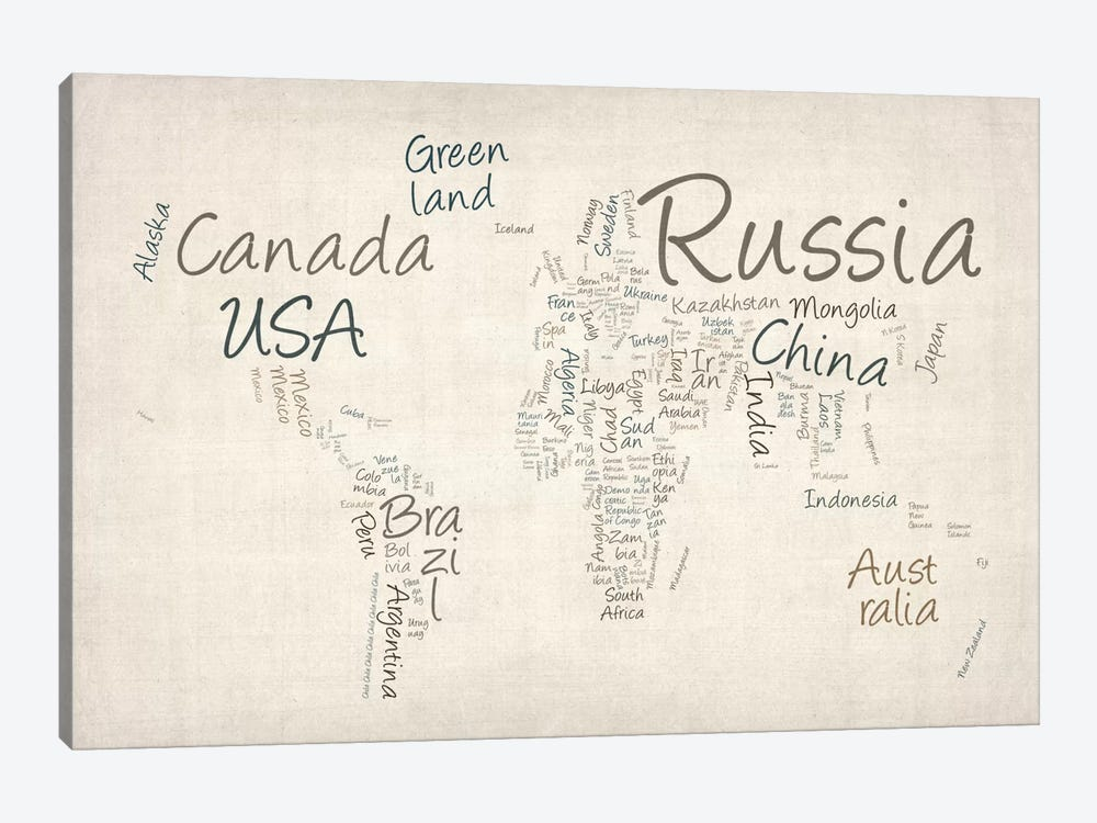 World Map in Words II by Michael Tompsett 1-piece Art Print