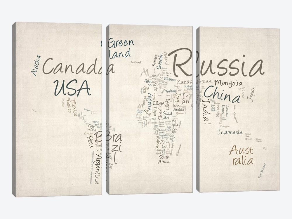 World Map in Words II by Michael Tompsett 3-piece Canvas Art Print