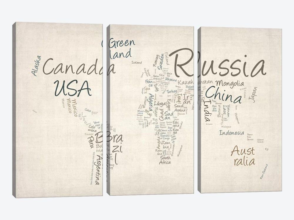 World Map in Words II by Michael Tompsett 3-piece Canvas Art Print
