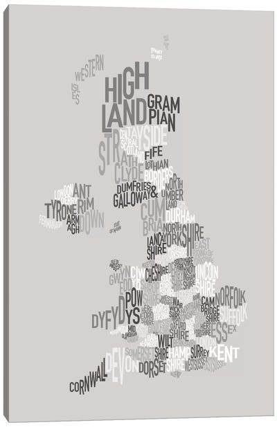 Great Britain County Text Map Canvas Art Print