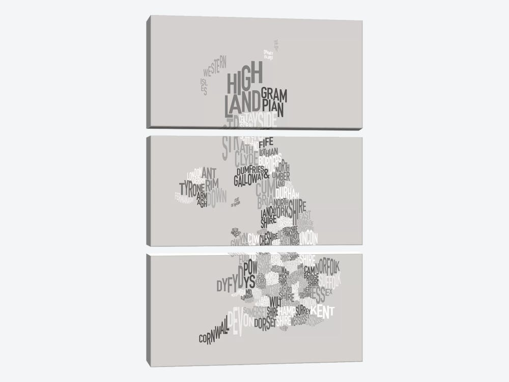 Great Britain County Text Map by Michael Tompsett 3-piece Canvas Wall Art