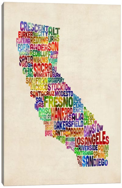 California Typography Text Map Canvas Art Print