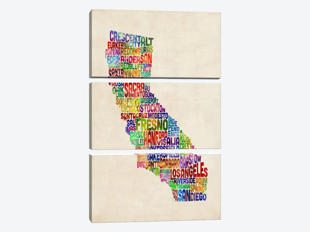 California Typography Text Map by Michael Tompsett 3-piece Canvas Art Print