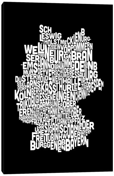 Text Map of Germany Canvas Print #8917