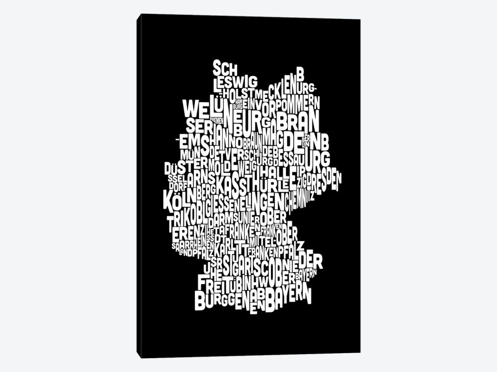 Text Map of Germany by Michael Tompsett 1-piece Art Print